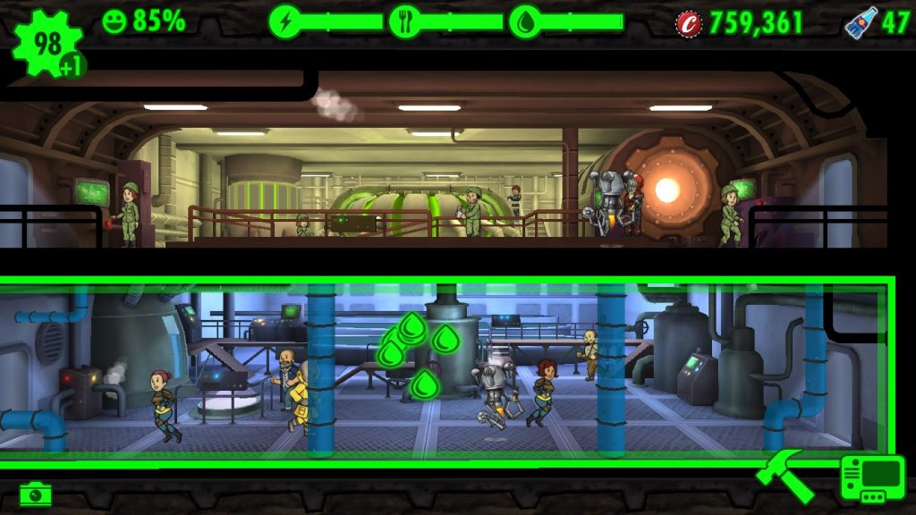 Power and Water rooms in Fallout Shelter