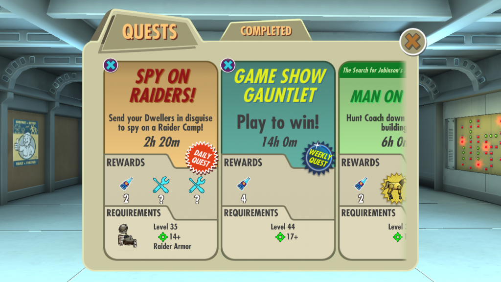 Today's wait times in Fallout Shelter; 2 Hours, 14 Hours, 6 Hours.