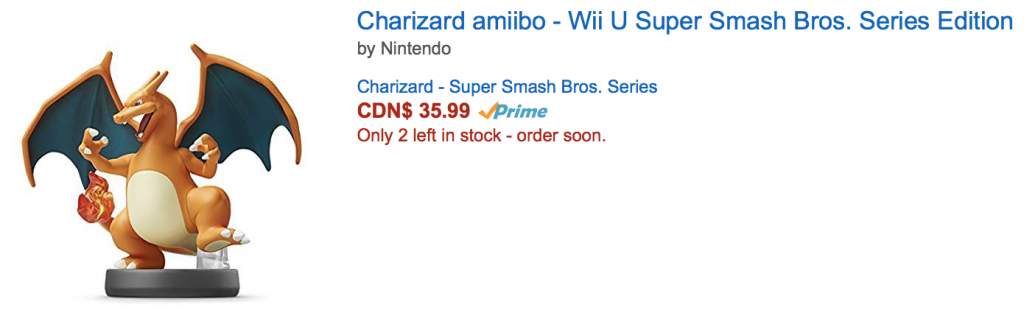 Here is a picture of a Charizard amiibo, listed with price, as found on Amazon.ca.