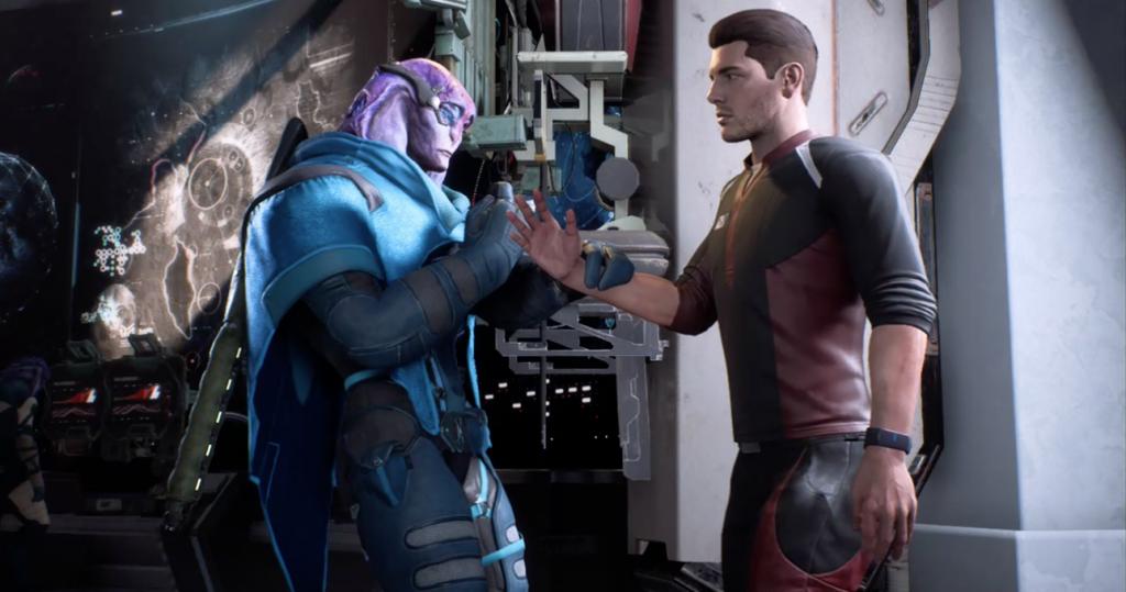 Mass Effect Andromeda meeting Jaal and handshake