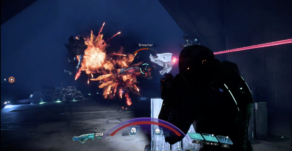 Mass Effect Andromeda combat with Remnant forces