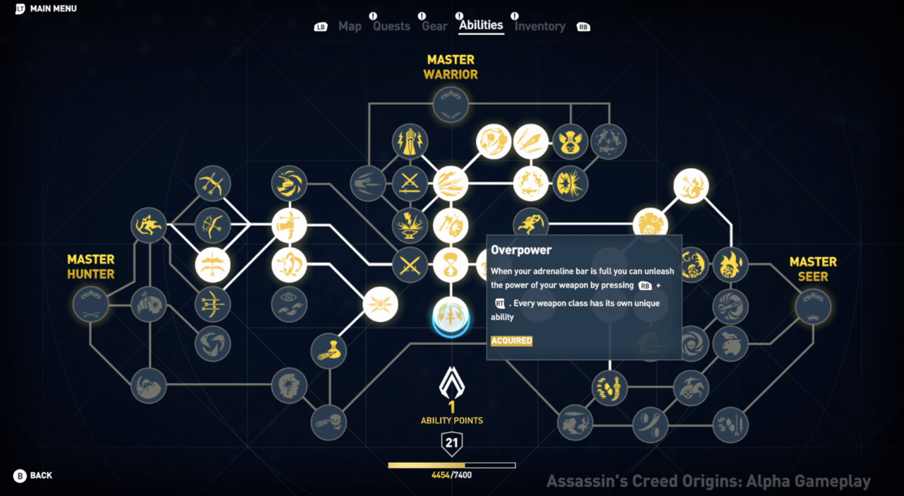 Assassin's Creed Origins skill tree