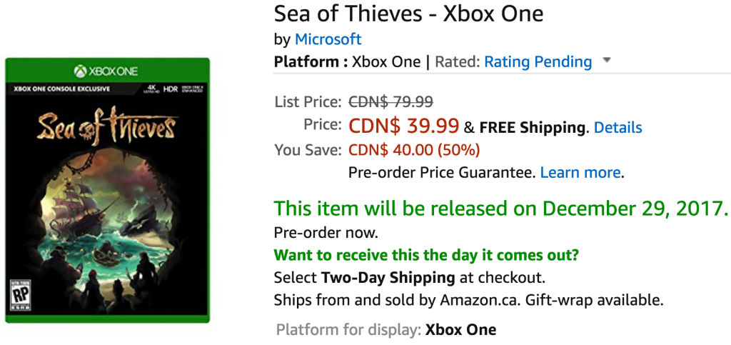 Sea of Thieves Amazon Game Preorder