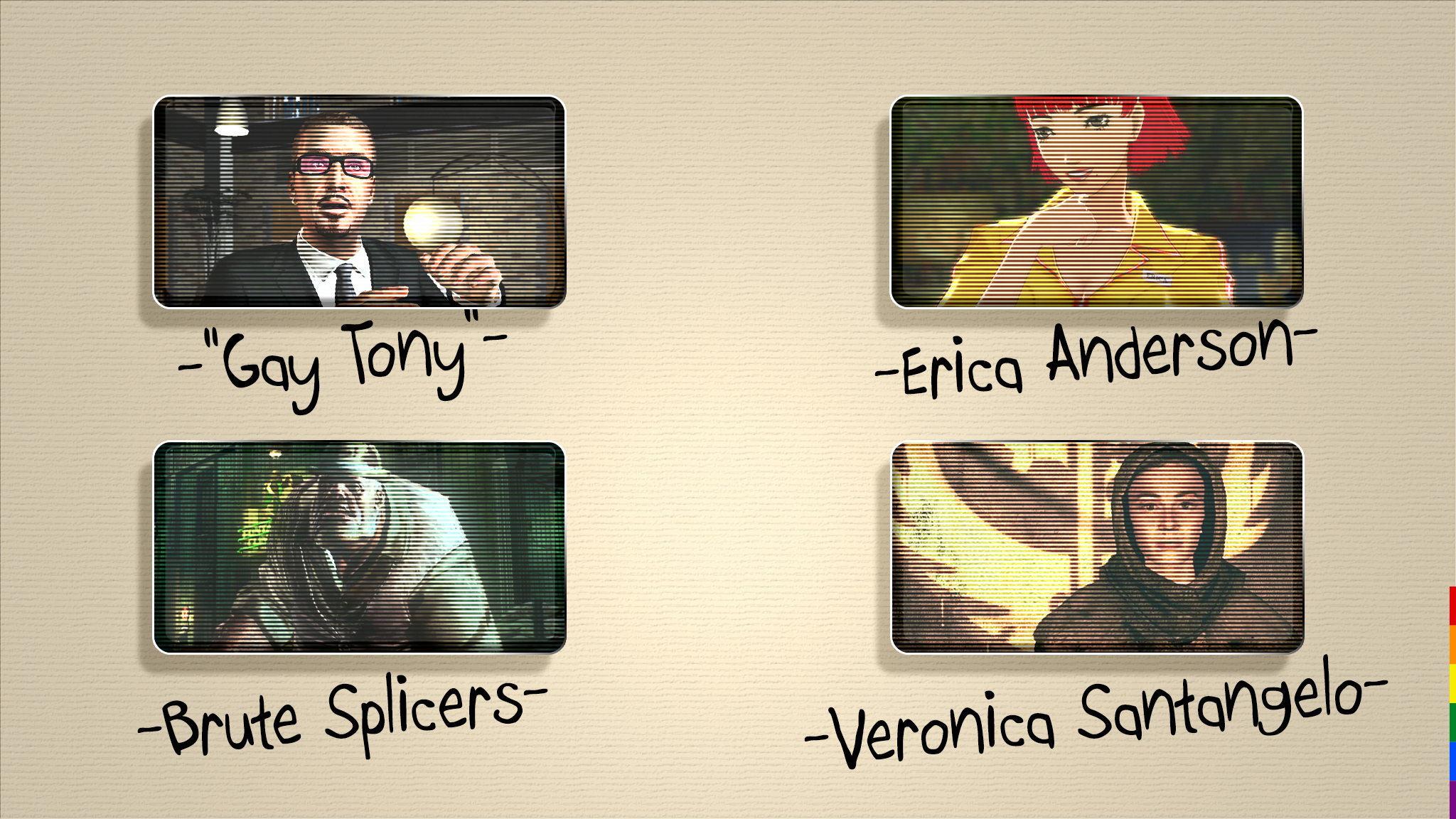 Renowned LGBT Characters, Gay Tony, Erica Anderson, Brute Splicers, Veronica Santangelo
