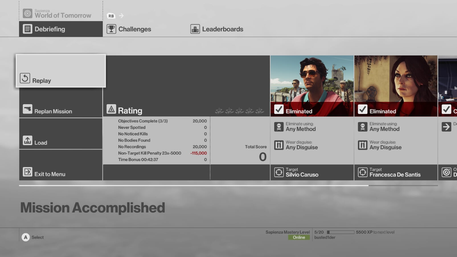 HITMAN: Definitive Edition Score Screen