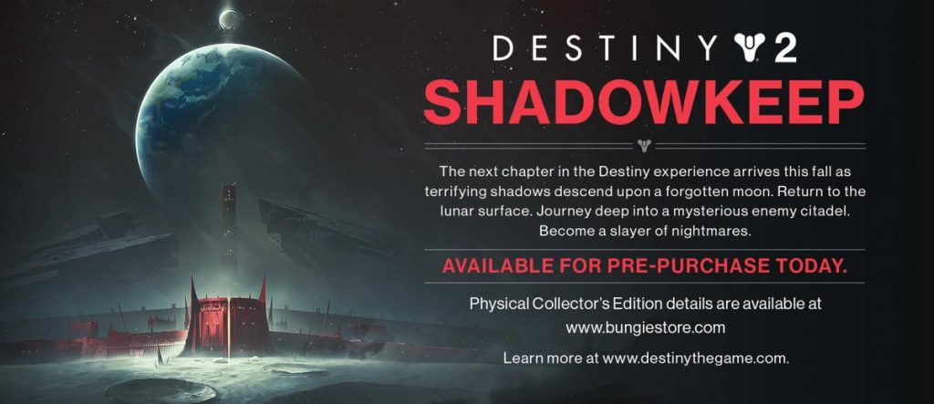 The banner datamined from a Destiny 2 update detailing the upcoming expansion Shadowkeep.